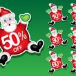 Santa Claus Discount Sale Stickers — Stock Vector