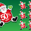 Stock Vector: Santa Claus Discount Sale Stickers