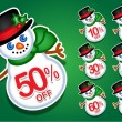 Christmas Snowman discount stickers / seals — Stock Vector