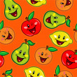 Happy Fruits Seamless Pattern — Stock Vector