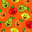 Happy Fruits Seamless Pattern — Stockvectorbeeld