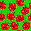 Happy Apples Seamless Pattern — Stock Vector