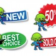 Alien Character Selling Stickers — Stock Vector