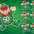 Santa's Elf vector discount stickers — Stock Vector