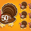 Thanksgiving Turkey in discount stickers — Stock Vector