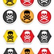 Stock Vector: Skull & Crossbones Warning Stickers