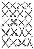 Espadas cruzadas — Vector de stock