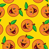 Happy Orange Seamless Pattern — Stock Vector