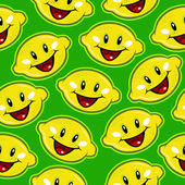 Happy Lemons Seamless Pattern — Stock Vector