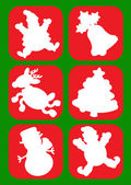 Christmas Character Silhouettes / icons — Stock Vector