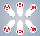 ABC progress icons in White — Stock Vector