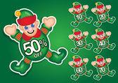 Santa's elf vektor rabatt sticker — Stockvektor