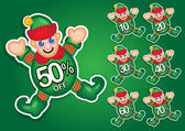 Santa's Elf vector discount stickers — Stock Vector