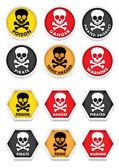 Skull & Crossbones Warning Stickers — Stock Vector