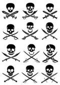 Gekruiste zwaarden met schedels — Stockvector