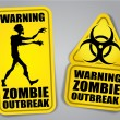 Stock Vector: Zombie Outbreak Warning Stickers, Labels