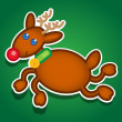 Stock Vector: Christmas Reindeer Vector Sticker