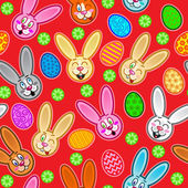 Easter seamless pattern with eggs and rabbits — Stock Vector