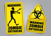 Zombie Outbreak Warning Stickers, Labels — Stock Vector