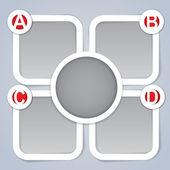 ABC progressive square labels — Stock Vector