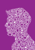 Profile silhouette of man made with Cellphones and Smartphones in violet background — Stock Vector