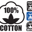 100 Cotton Icon. in three styles. — Stock Vector #14013789