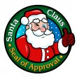 Santa Claus, Seal of Approval — Stock Vector