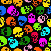Colorful Skulls vector seamless pattern in black background — Vector de stock