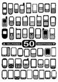 50 ベクトル携帯電話およびスマート フォン — ストックベクタ