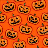 Halloween Pumpkins vector pattern in orange background — Stock Vector