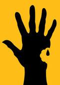 Bitten Hand Silhouette — Stock Vector