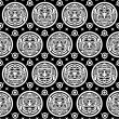 Aztec Seamless Background in Black & White — Stock Vector