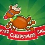 After Christmas Sale banner / Reindeer — Stock Vector