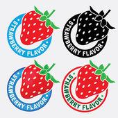 Strawberry Flavor Seal / Mark — Stock Vector