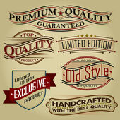 Set of Retro Seals, Labels and Calligraphic Designs — Stock Vector