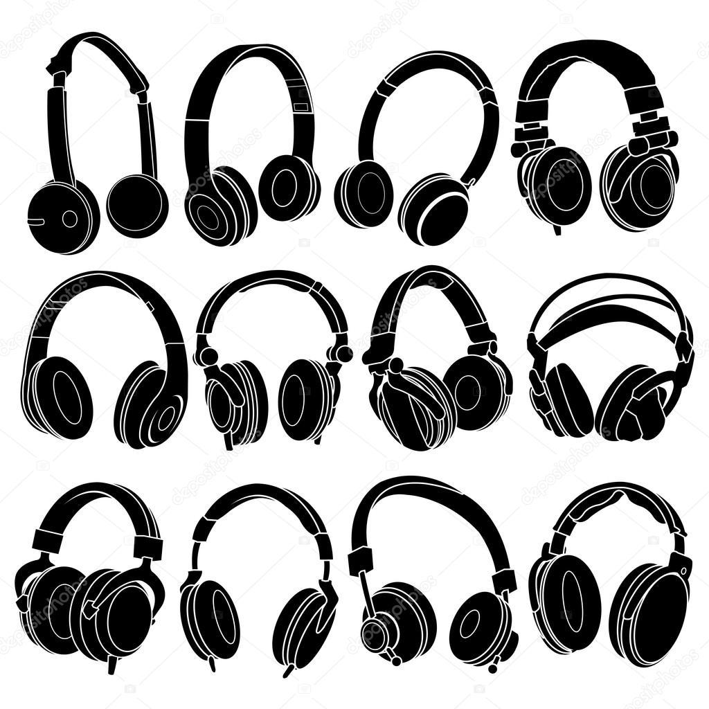 Headphones Silhouette Free Vector Headphone silhouettes set