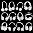Headphones Silhouettes Collection on Black Background — Stock Vector #21234961