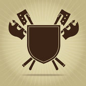 Blank Vintage Shield with Crossed Axes — Stockvector