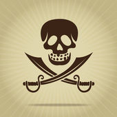 Vintage Skull with Crossed Swords Silhouette — Stock Vector