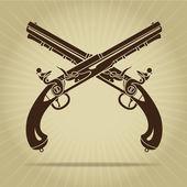Vintage Crossed Flintlock Pistols Silhouette — Stock Vector