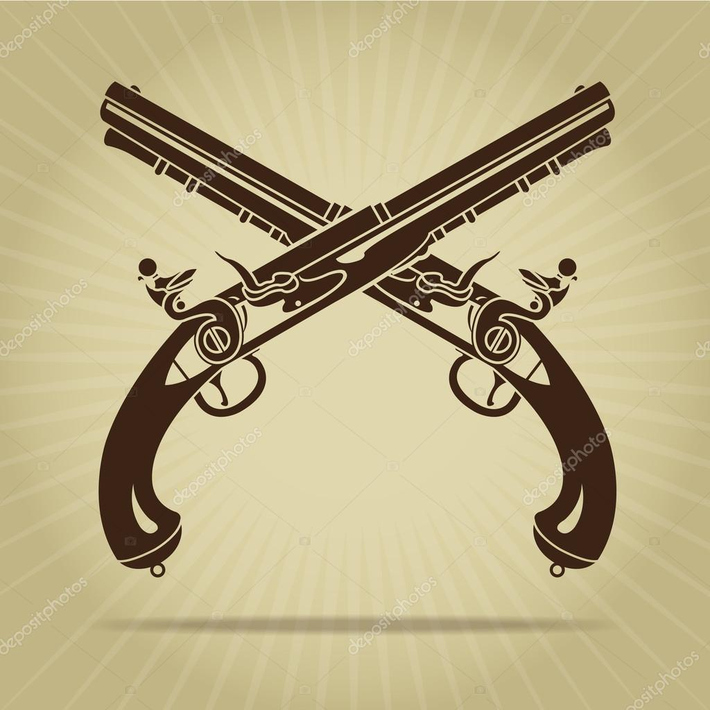 Vintage Crossed Flintlock Pistols - 87.2KB
