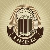 Retro Styled Beer Mug Seal or Mark — Stock Vector