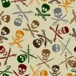 Pirate Skulls with Crossed Swords Seamless Pattern - Imagen vectorial