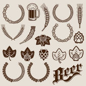 Beer Ingredients Ornamental Designs — Stock Vector