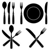 Vintage Cutlery Silhouettes designs — Stock Vector