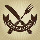 Vintage Styled knife and fork, Restaurant Seal — Stock Vector