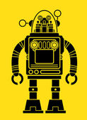 Retro Tin Toy Robot Silhouette — Vetorial Stock