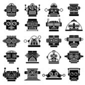 Retro Vintage Robot Heads — Vetorial Stock