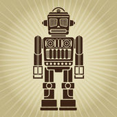 Retro Vintage Robot Illustration — Vecteur