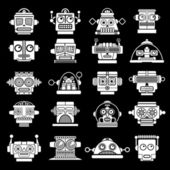 Retro Vintage Robot heads on Black Background — Stock Vector